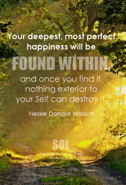 Your deepest, most perfect happiness will be found within, and once you find it, nothing exterior to your Self can destroy it. - Neale Donald Walsch