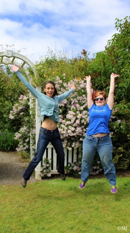 Jumping for joy at the Hulda Klager lilac gardens.