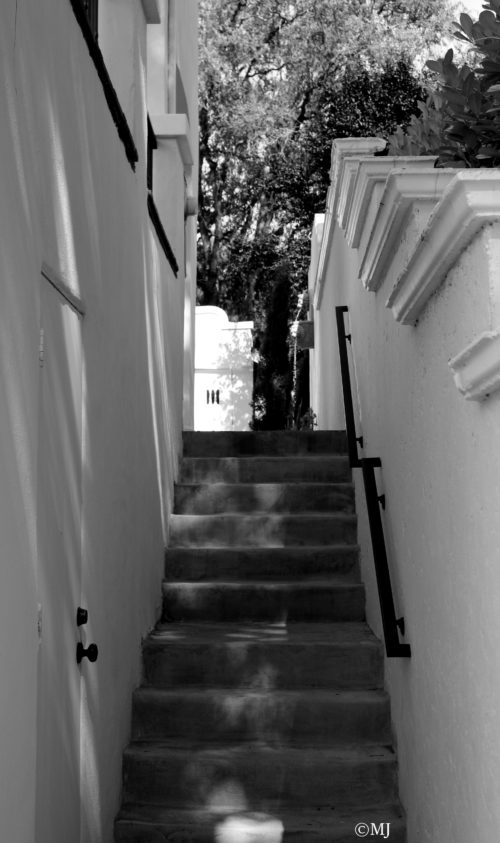 Black and white stairway