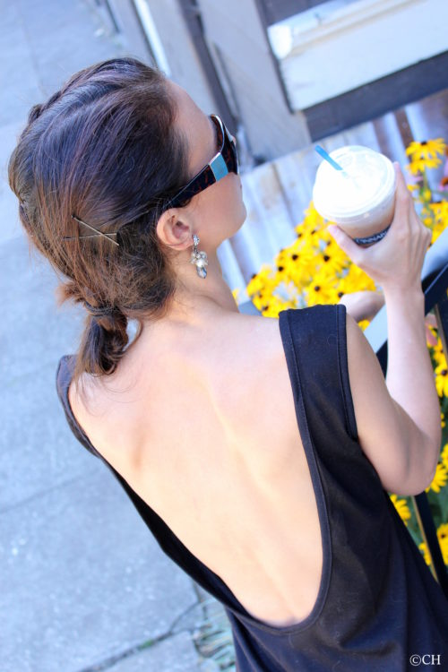 Backless tank top, coffee & flowers