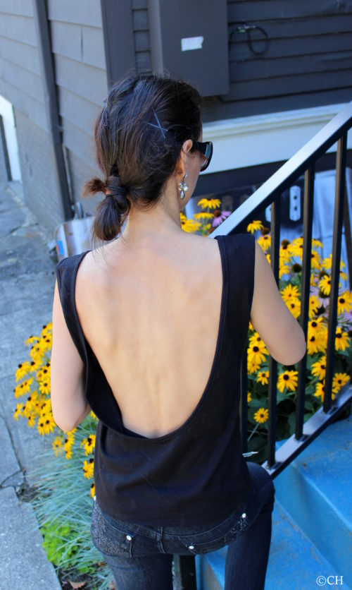 Black backless tank top & flowers