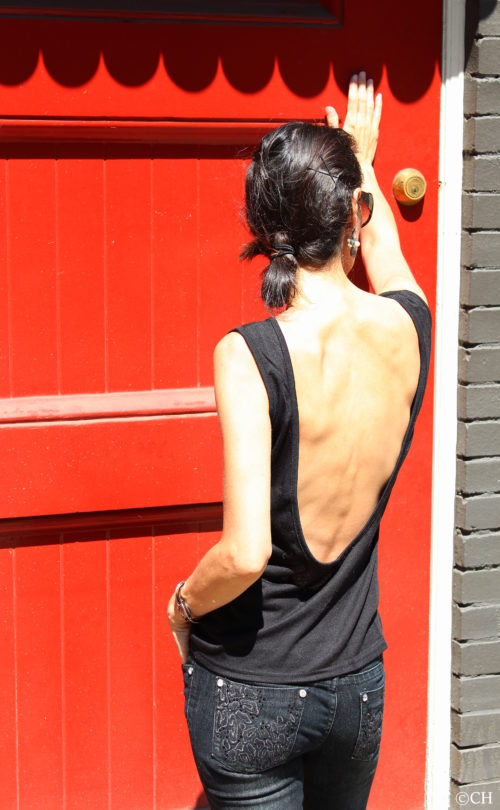 Scoop back tank top - Red door