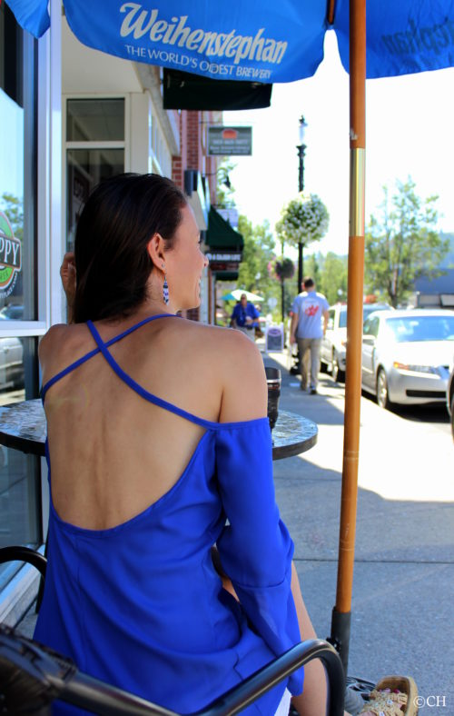 Backless cross-strap top in royal blue