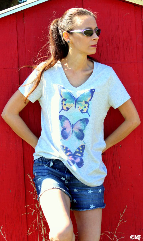 Butterfly tee + Star shorts - back to school style