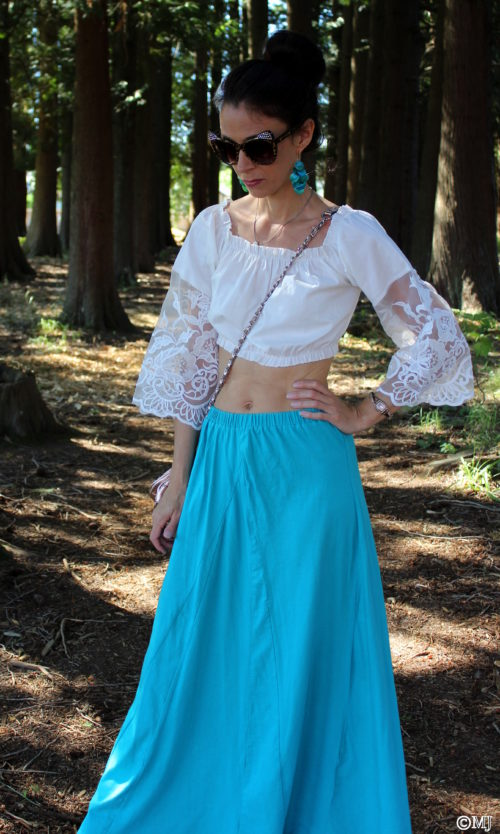 Lace crop top + teal green maxi skirt