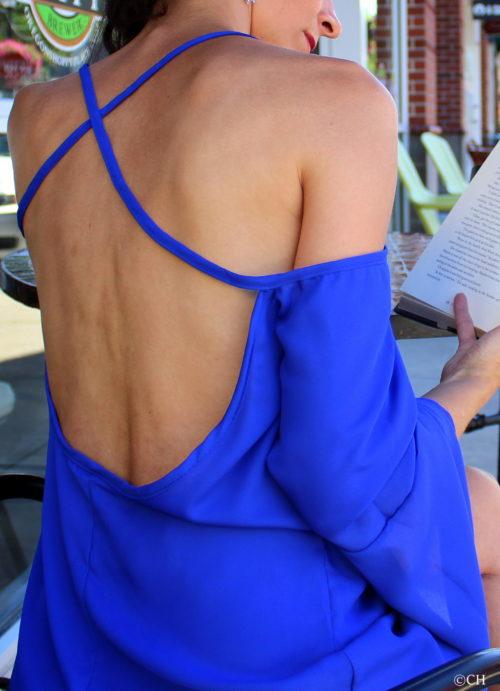 Off-shoulder cross strap top - up close