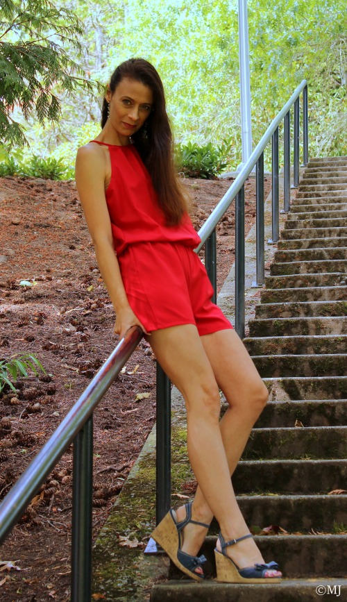Red romper + Denim bow wedge heels