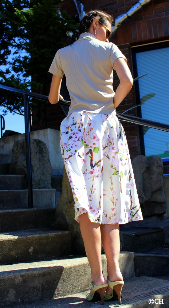Back view of cherry blossom skirt