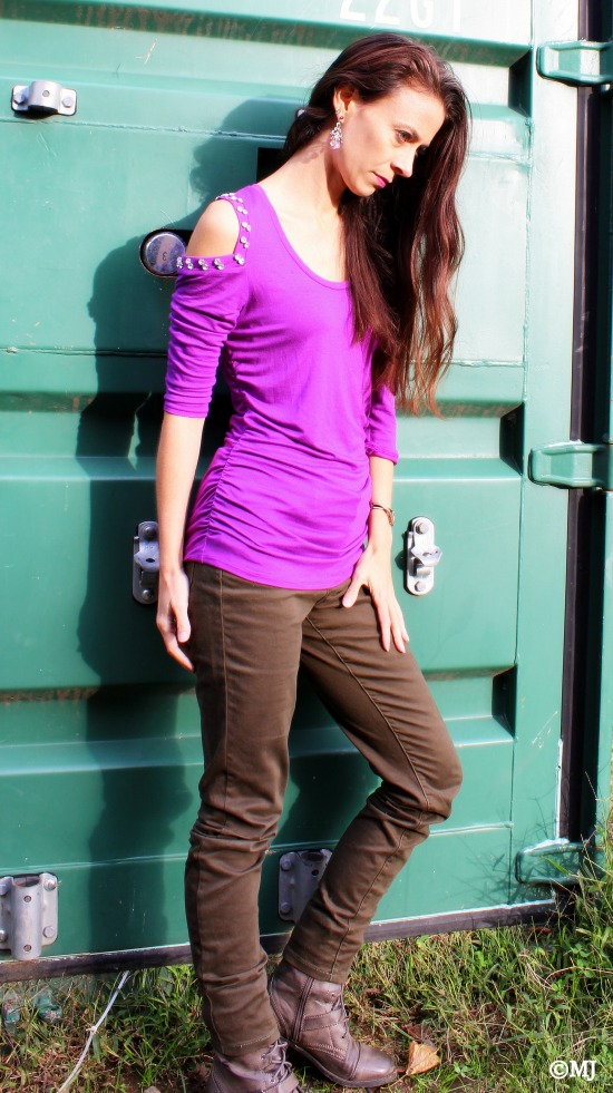 Jewel-toned purple top, skinny jeans + combat boots