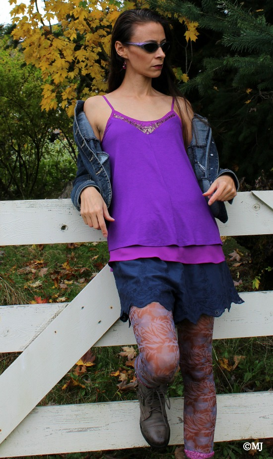 Purple layered tank top + blue lace edged shorts