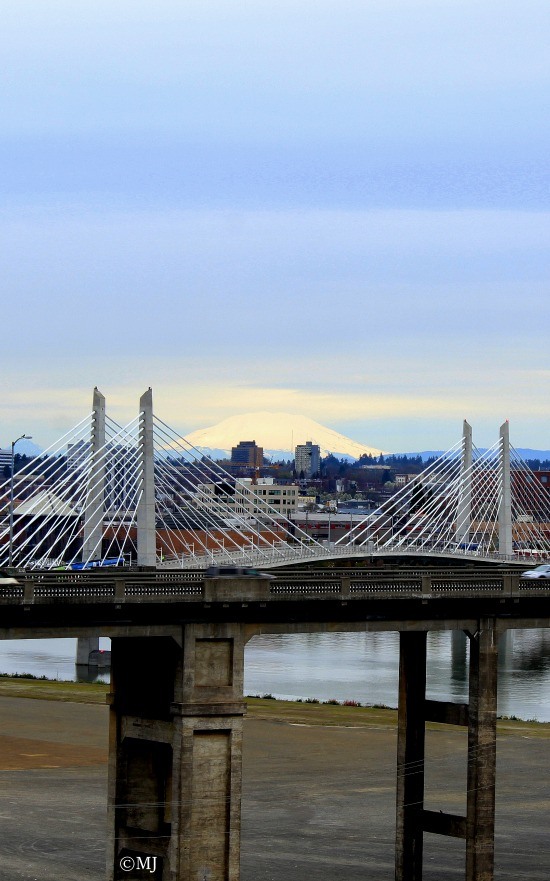 Mt St Helens as seen through the Tilikum Crossing Bridge from OHSU