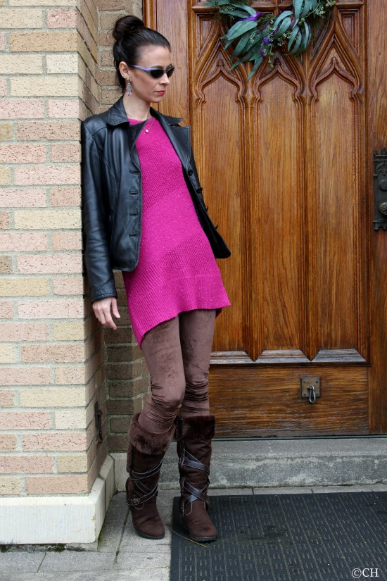Pink sweater + brown velvet leggings and fur lined boots