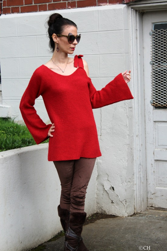 Red off-shoulder sweater