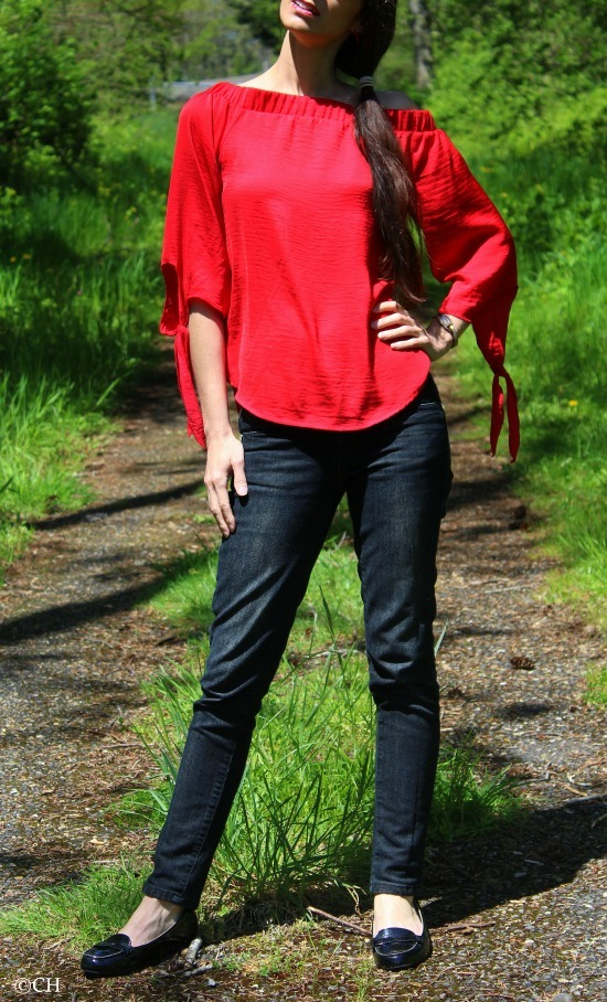 Red off shoulder top, black jeans + black patent leather flats