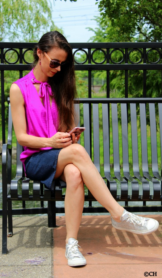 Bow tie top, denim skirt, kate spade phone case + silver metallic converse sneakers
