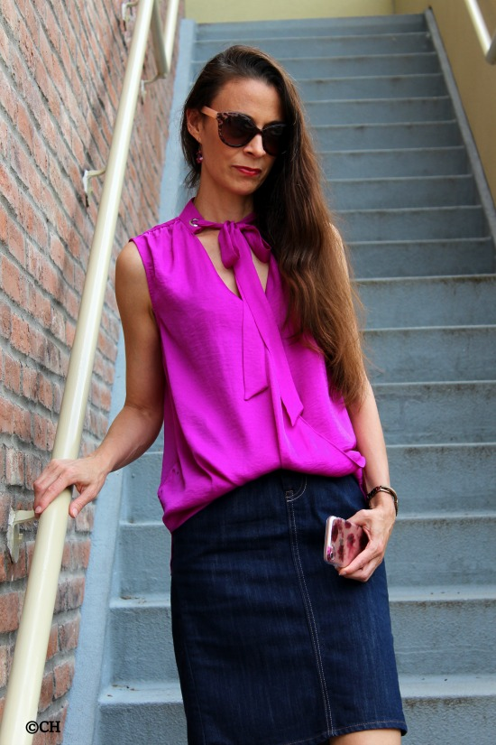 Purple-pink bow tie top + jean skirt