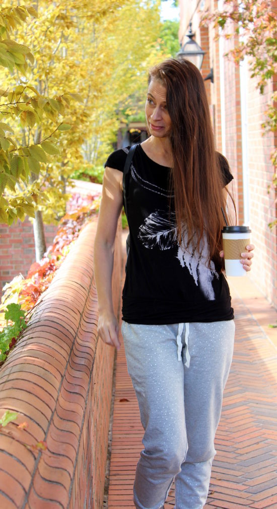 Feather tee + silver polka dot sweat pants