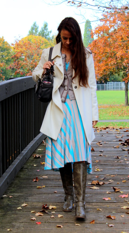 Blue and gray stripes + white coat