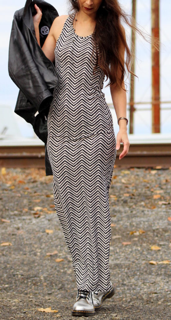 Black and white zig zag chevron pattern maxi dress
