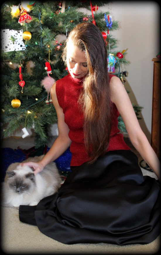 Red sparkle turtleneck + satin skirt & one fluffy kitty