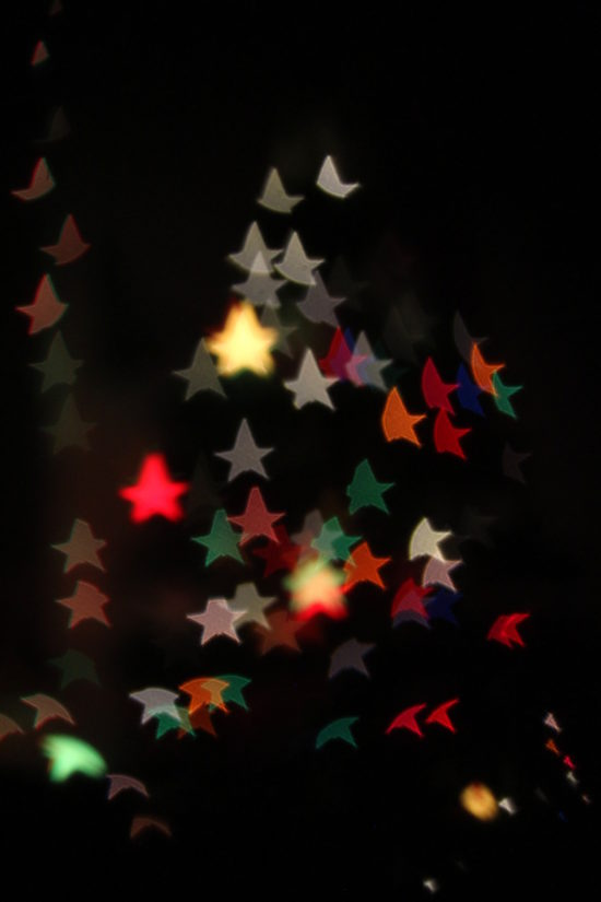 Star bokeh Christmas tree lights