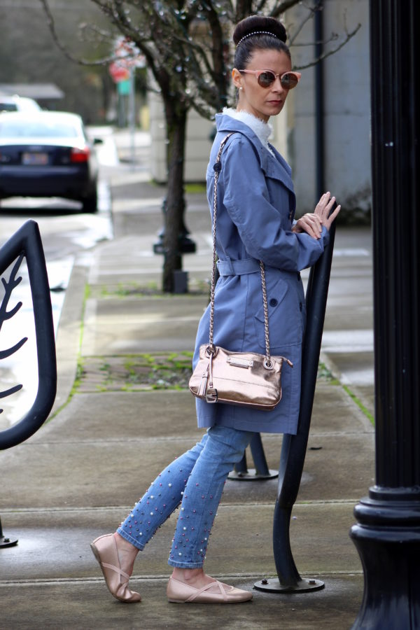 Slate blue coat + rose gold accessories