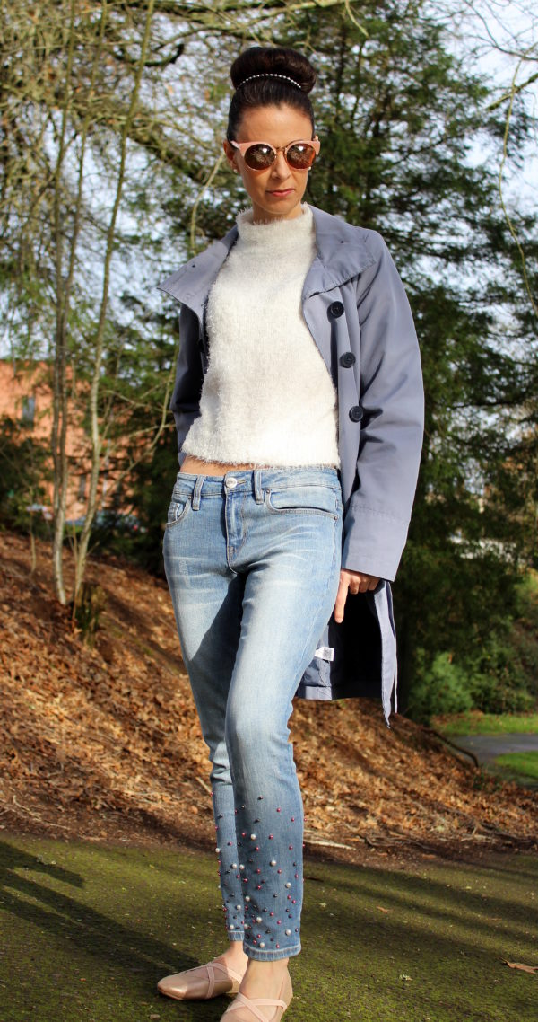 White sweater, + jeans with pearls & a slate blue coat