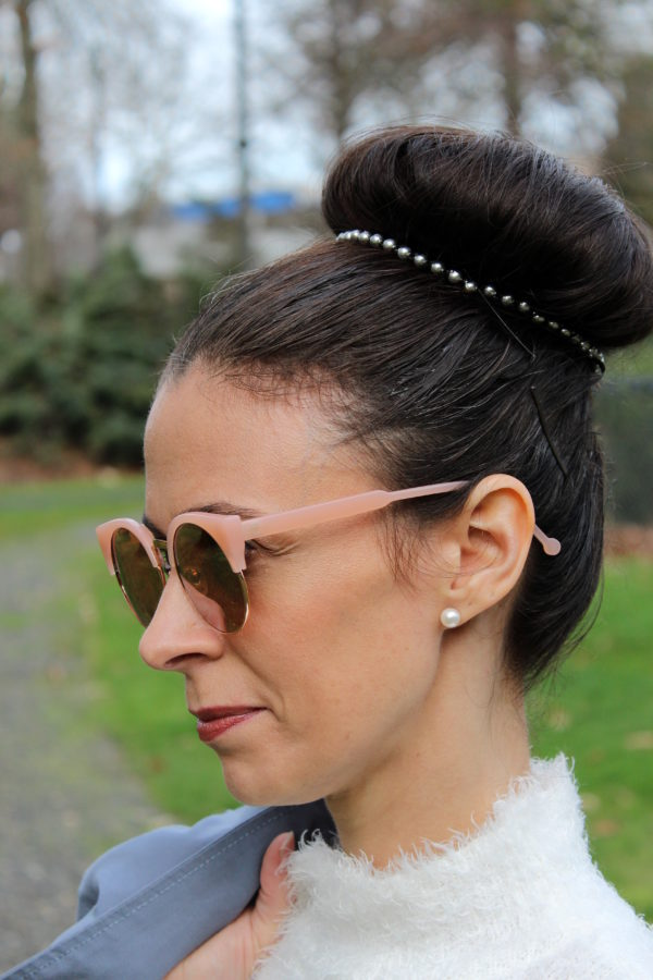 Pink pearl earrings, silver pearl bun band, rose gold sunglasses