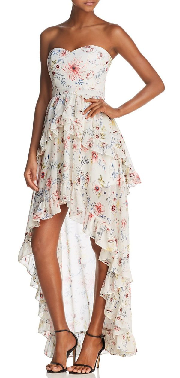 Floral Strapless High/Low Maxi Dress