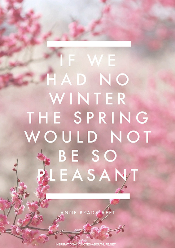 If we had no winter, the spring would not be so pleasant. ~ Anne Bradstreet