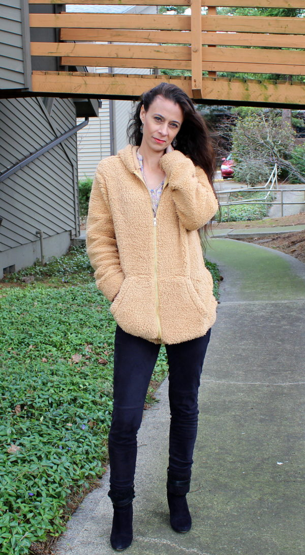 Teddy bear coat, black fur lined boots + black leggings