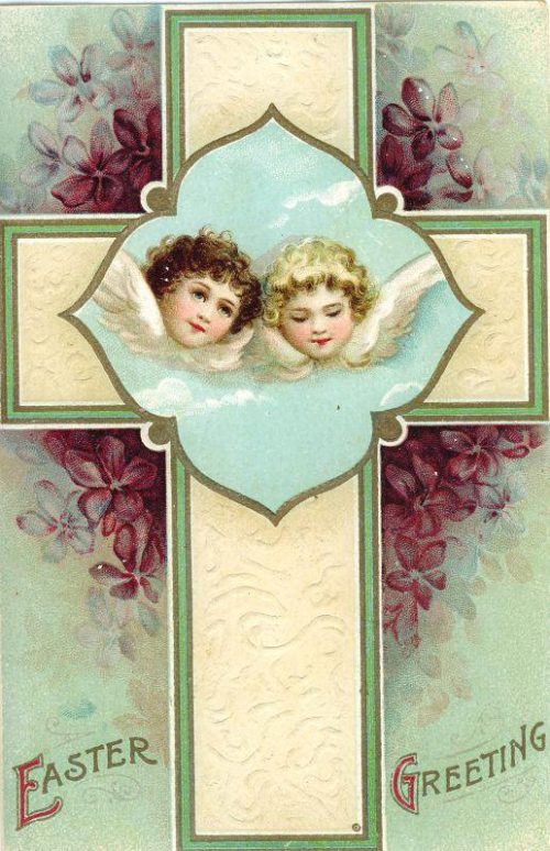 Two angels on a cross ~ Image courtesy of vintageholidaycrafts.com
