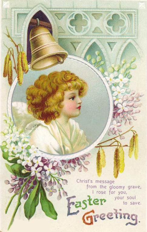 Vintage Easter angel card with purple flowers and church bell ~ Image courtesy of vintageholidaycrafts.com