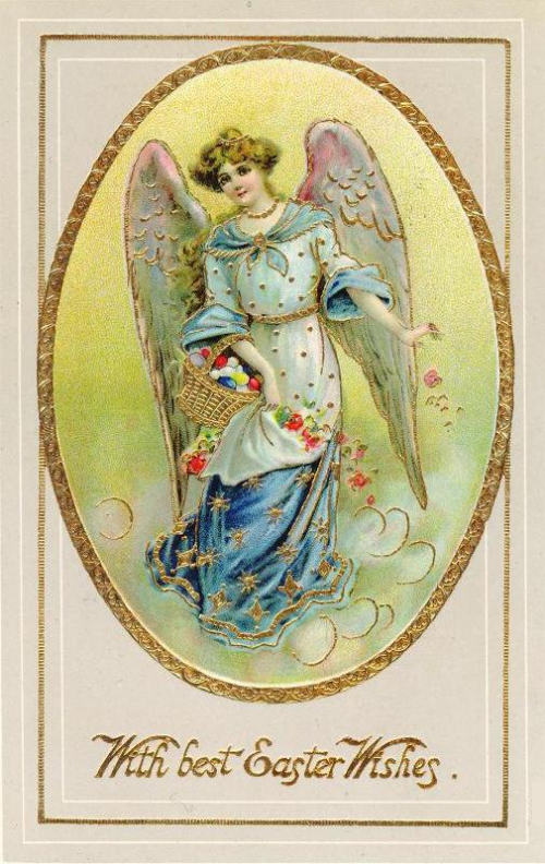 Victorian Easter angel card with gold accents ~ Image courtesy of vintageholidaycrafts.com