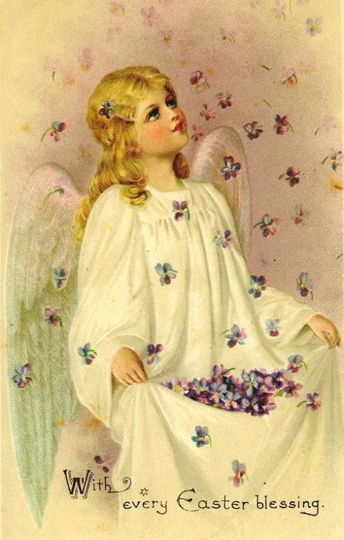 Vintage Easter angel being showered with violets ~ Image courtesy of vintageholidaycrafts.com