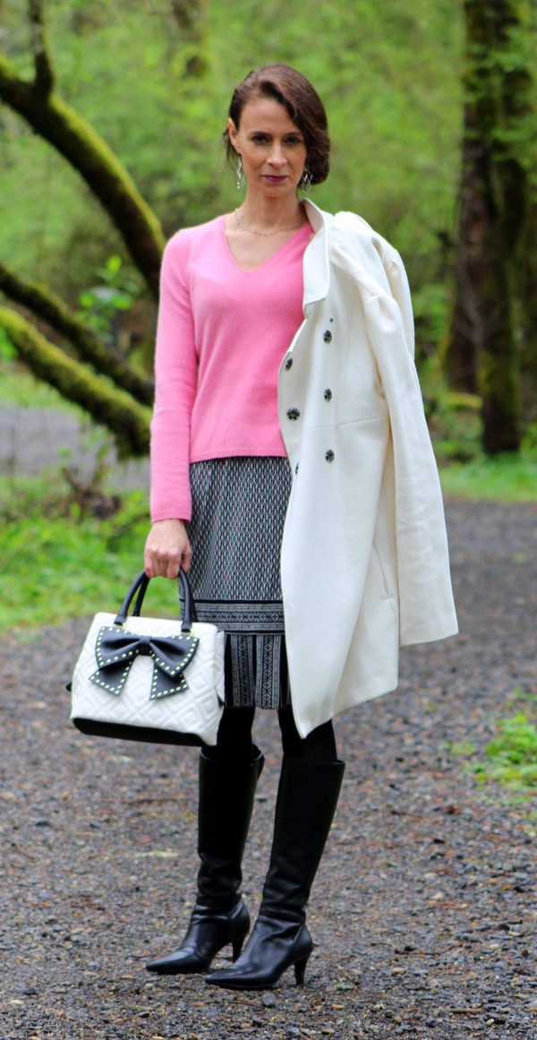 Coming out of spring outfit in pink, black and white