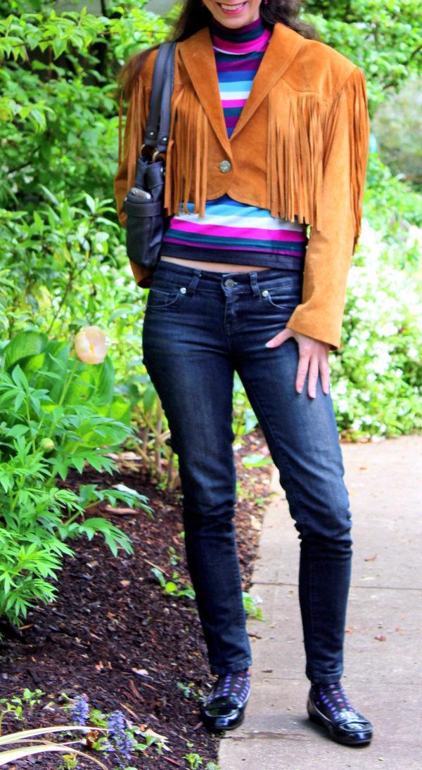 Striped shirt, fringed suede jacket, black skinny jeans, polka dot socks + black patent leather penny loafers