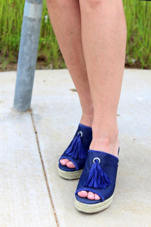 Blue Denim tassel peep-toe sandals