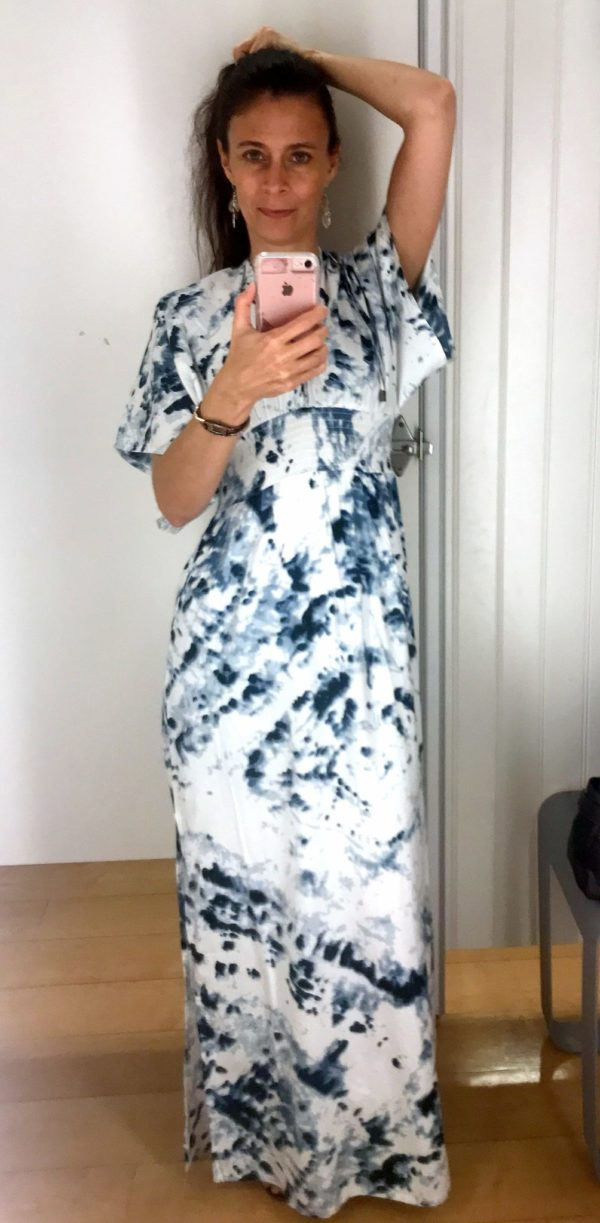 Blue and white kimono style dress