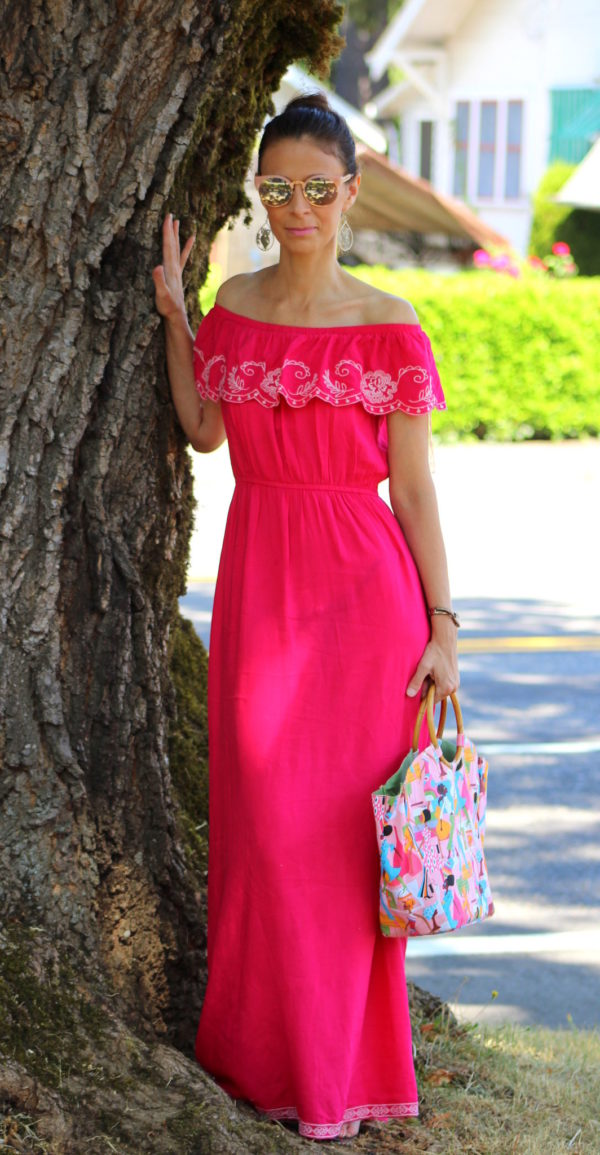 Pink embroidered ruffled maxi dress, Neiman Marcus handbag + owl earrings