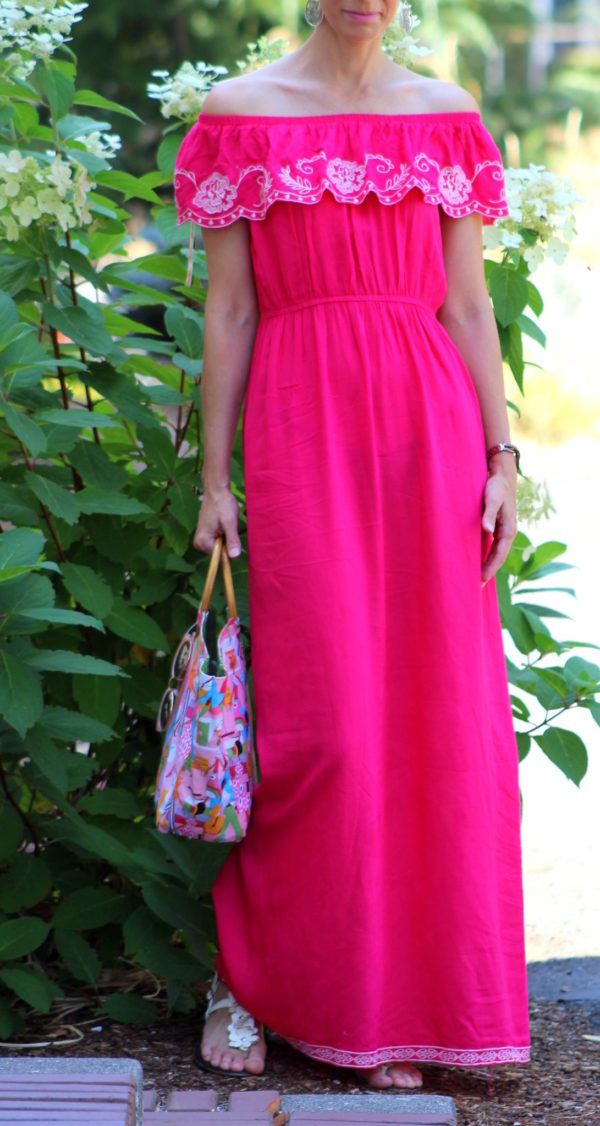 Pink embroidered ruffled maxi dress, Neiman Marcus handbag, owl earrings + floral sandals