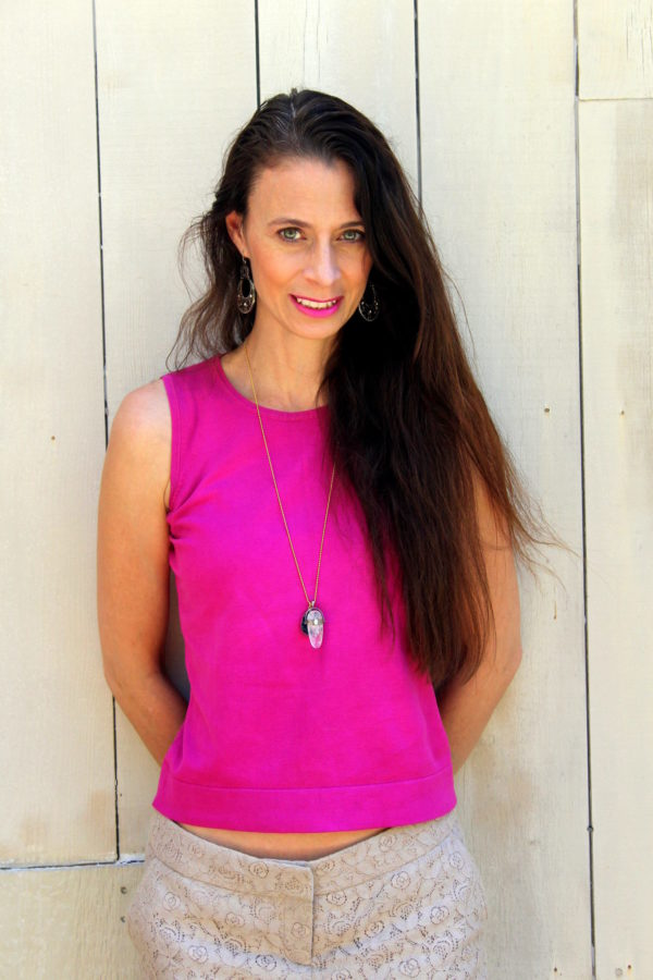 Fuchsia top, beige lace shorts, opal and druzy necklace + copper earrings
