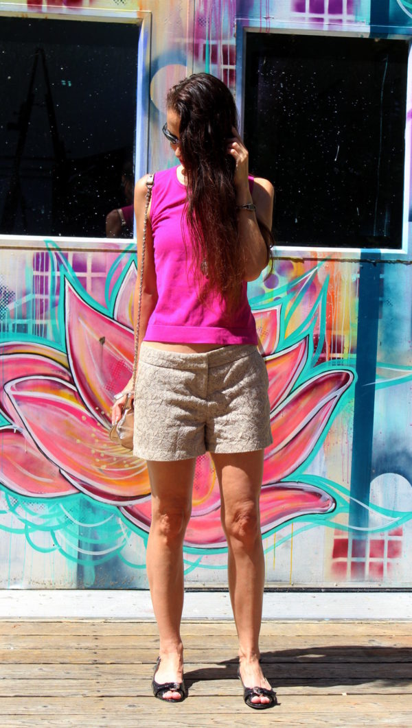 Fuchsia top, beige lace shorts, opal and druzy necklace, copper earrings + black peep toe flats