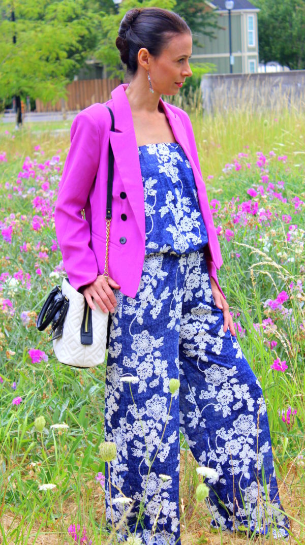 Blue and white strapless floral jumpsuit, orchid blazer, velvet tennis shoes + black and white Betsey Johnson purse