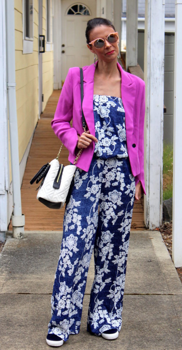 Blue and white strapless floral jumpsuit, orchid blazer, velvet tennis shoes + black and white Betsey Johnson purse + rose gold sunglasses