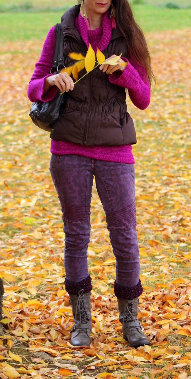 Berry pink sweater, purple skinny jeans, brown puffer vest, purple cuff socks + taupe combat boots #falloutfit