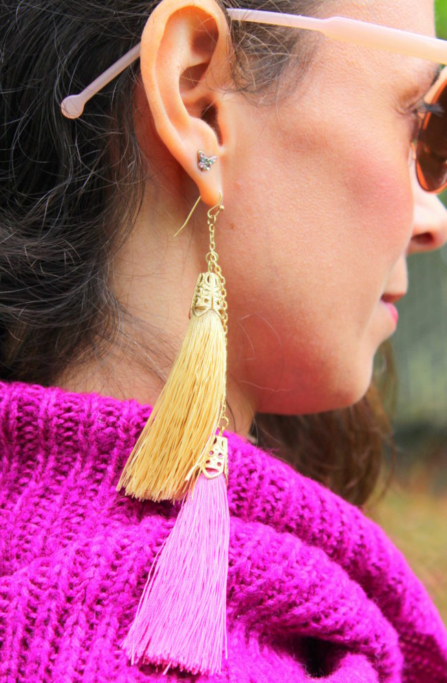 Rose gold sunglasses, butterfly stud earrings, yellow and gold tassel earrings