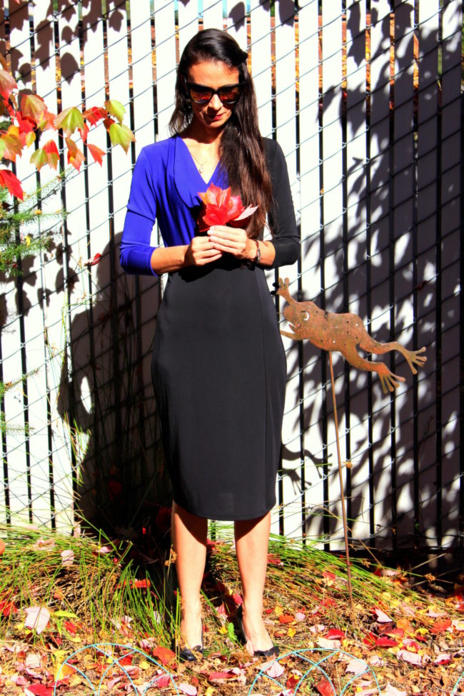 Purple and black colorblock dress