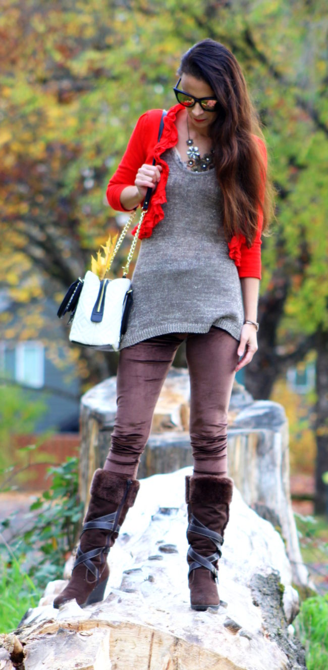 Red ruffled cropped cardigan, sparkle tank top, brown leggings, brown fur lined boots, black and white Betsey Johnson purse, black cat eye sunglasses + silver feather earrings