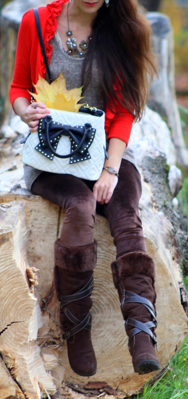 Red ruffled cropped cardigan, sparkle tank top, brown leggings, brown fur lined boots, black and white Betsey Johnson purse, + silver feather earrings